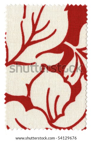 Red/ White Floral Fabric Swatch with trimmed zigzag edges