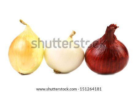 Red white gold onion bulbs