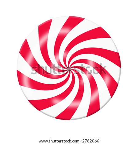 Red White Peppermint Christmas Candy, Graphic, On A White Background - stock photo