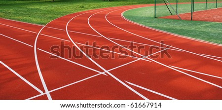 Red White Running Track Background - stock photo