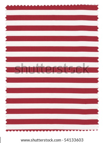 Red/white Striped Fabric Swatch with trimmed zigzag edges