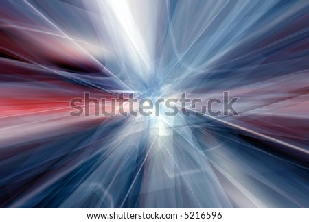 Red white trails escaping the core - stock photo