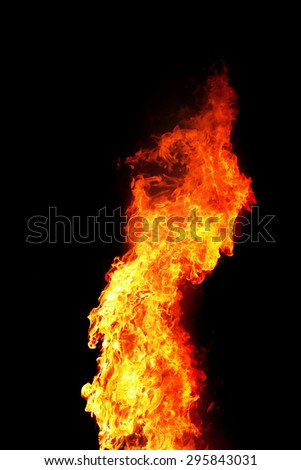 red wild fire on black background - stock photo