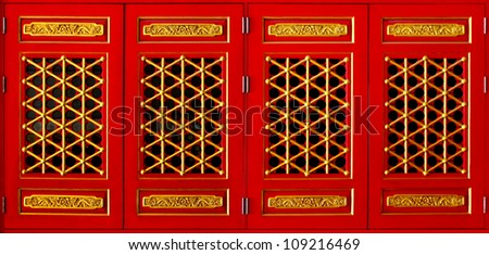 Red window Chinese Style. - stock photo