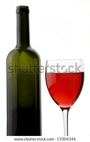red wine a glass and a bottle
