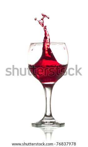 Red Wine Abstract Splashing - stock photo