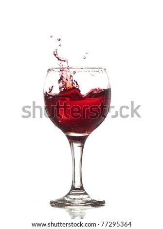 Red Wine Abstract Splashing isolated on white - stock photo