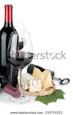 Red wine and cheese. Closeup. Isolated on white background - stock photo