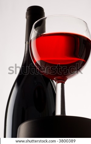 Red Wine and glass - stock photo