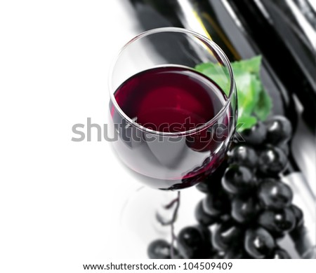 Red wine and grape, isolated, white background - stock photo