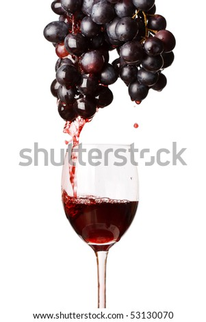 red wine and grapes - stock photo