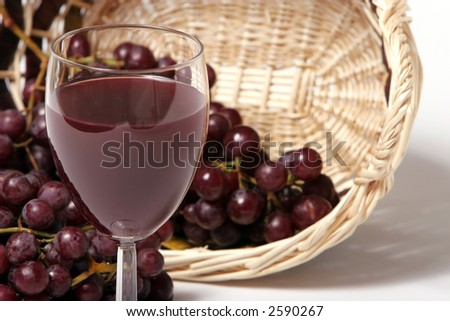 Red wine and grapes in the basket