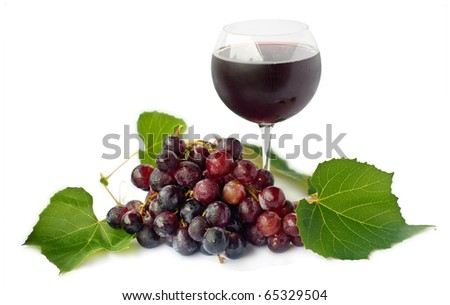 Red wine and grapes  isolated on white background - stock photo