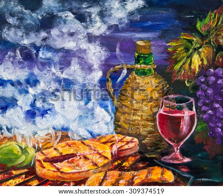 Red wine and grilled fish. Painting - stock photo