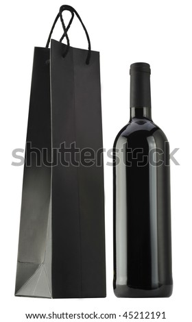 Red wine and packing bags - stock photo