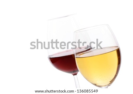 Red wine and White wine on a white background - stock photo