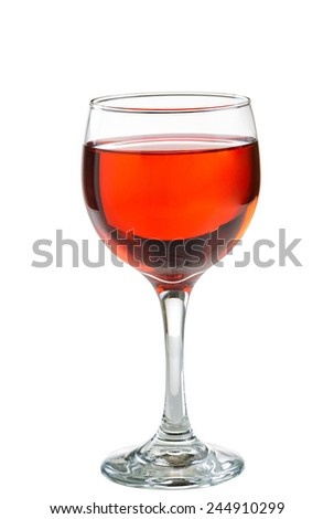 Red wine, blush, in glass isolated on white background - stock photo