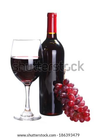 Red Wine Bottle and Glass of  Wine with Fresh Grapes isolated on white