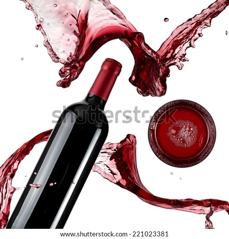 Red wine bottle and glass splash, top view - stock photo