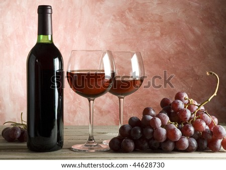 red wine bottle and glasses background - stock photo