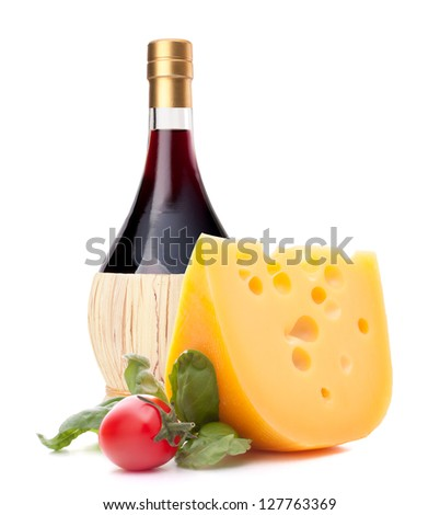 Red wine bottle, cheese and tomato still life isolated on white background cutout. Italian food concept. - stock photo