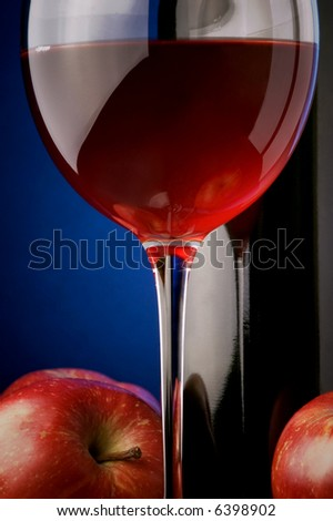 red wine bottle details apples - stock photo
