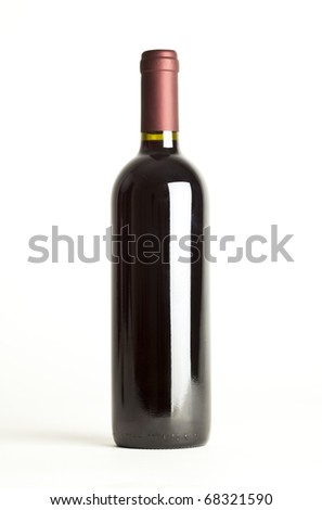 red wine bottle isolated against white background - stock photo