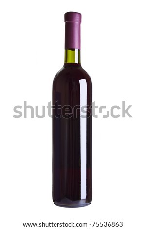 red wine bottle isolated on the white background