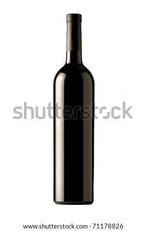 Red Wine Bottle isolated on white - stock photo