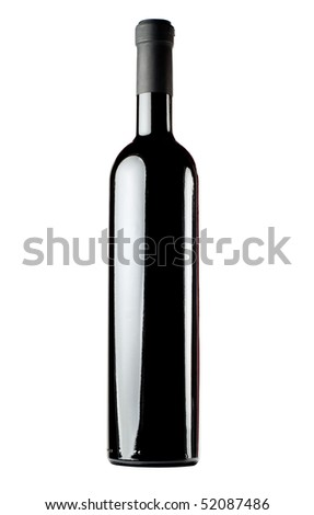 Red wine bottle isolated on white background. Blank space for label. - stock photo