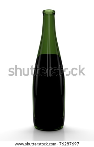 Red wine bottle isolated on white background. 3d Image.