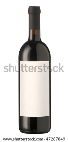 Red wine bottle isolated with blank label for logo or text.  Clipping path included (outline and label)