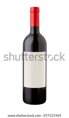 Red wine bottle isolated with blank label for your text or logo.