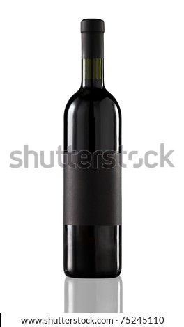 Red wine bottle isolated with blank label for your text or logo. - stock photo