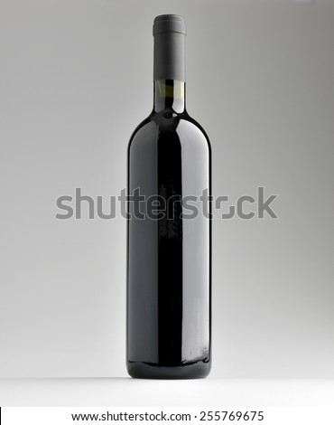 red wine bottle label - stock photo