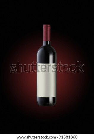 red Wine bottle, label copy space - stock photo