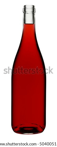 RED WINE BOTTLE ON WHITE