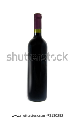 red wine bottle over a white background