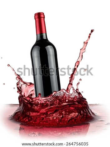 Red wine bottle splash - stock photo