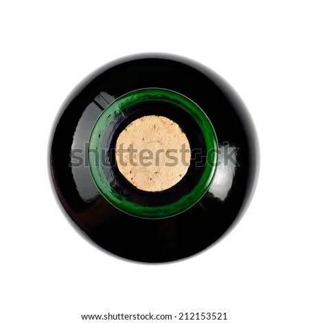 Red wine bottle, top view - stock photo