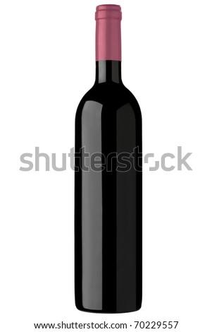 red wine bottle unlabeled, isolated over white background - stock photo