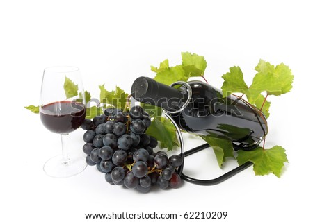 red wine bottle , wine glass and grape vine branch isolated on white - stock photo