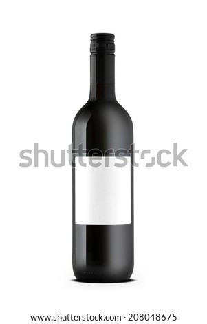 Red wine bottle with blank label isolated on white - stock photo