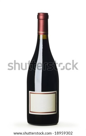 Red wine bottle with blank label on white background - stock photo