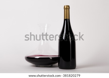 Red Wine Bottle With Decanter - stock photo