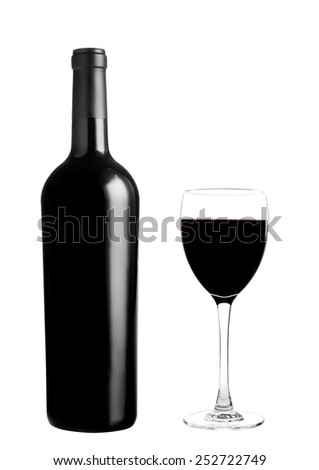 red wine bottle with glass - stock photo