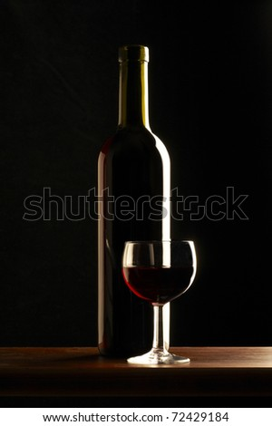 red wine bottle with glass
