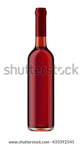 Red wine bottle with red plug isolated on white background. 3D Mock up for your design. - stock photo