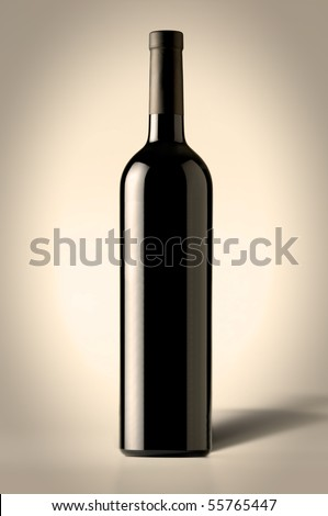 Red Wine Bottle with shadow - stock photo