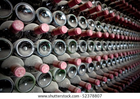 Red wine bottles in a cellar - stock photo